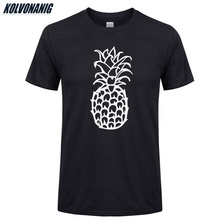 Summer 2019 Top Quality Loose 100% Cotton O-Neck Short Sleeve Pineapple Funny Printed Mens T Shirt Casual Knitted Tee Shirts