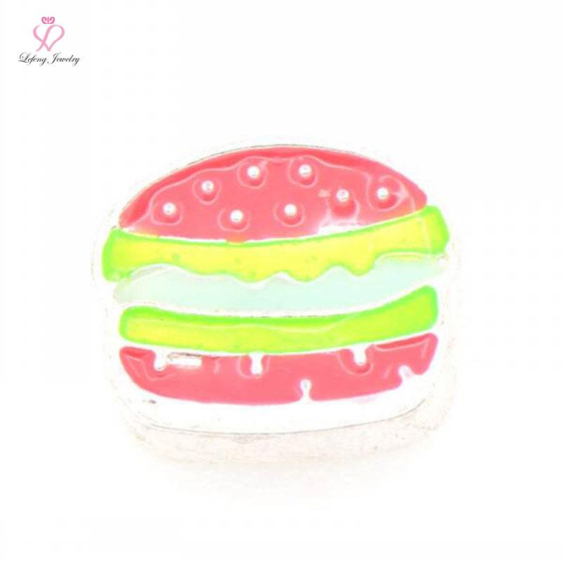 2016 Hamburger floating charms wholesale for Magnetic Living Memory Glass Floating Lockets FC502