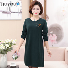 HUYOU Women Long Pullover Round Neck Sleeved Casual Knitting Sweater 2019 New Spring 4XL Size Dress