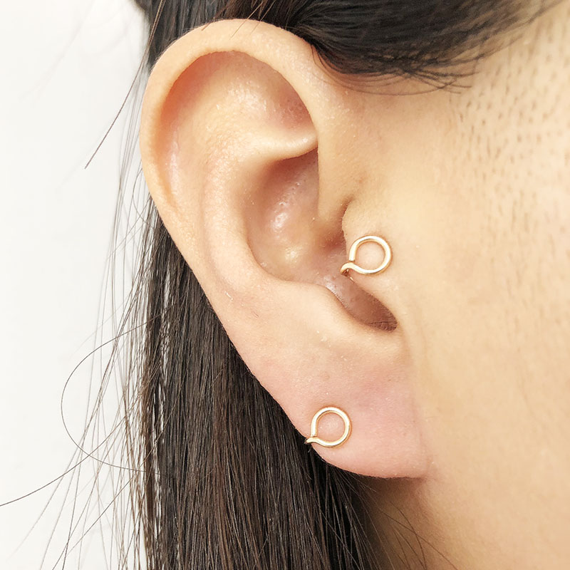 Handmade Small Circle Tragus Clip Earrings