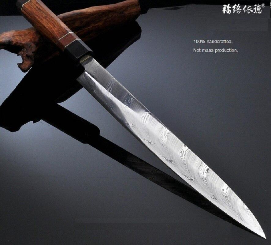 Японский Сакаи суши сашими Ножи шведский порошок Дамаск RWL34 ротанга ручка лосося Филейный Нож для рыбы Дамаск ручной работы 1