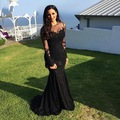 vestido de festa Sexy Black Chiffon Mermaid Evening Dresses Lace Applique Crystal Beaded Long Sleeves Floor Length Prom Dress