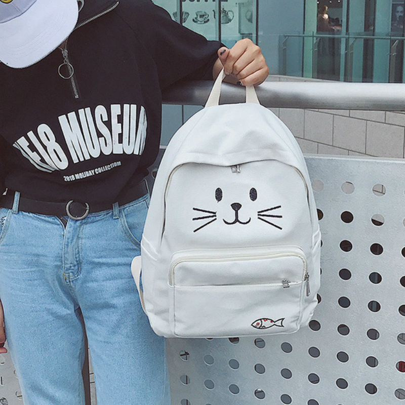 2017 Summer Autumn New Hot Fashion Women Female Casual Cute Cat Embroidery Schoolbag Cartoon Zipper Canvas Backpacks Bags hot fashion design personality little bear women backpacks cute character shapes cartoon girls schoolbag casual shoulder bag