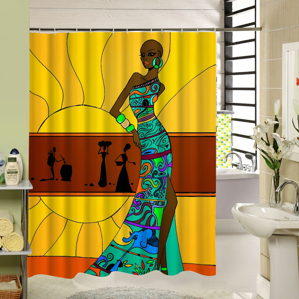 Plante Salle De Bain Lumineuse ~ Femme Africaine Avec Pourpre Afro Cheveux Rideau De Douche Polyester