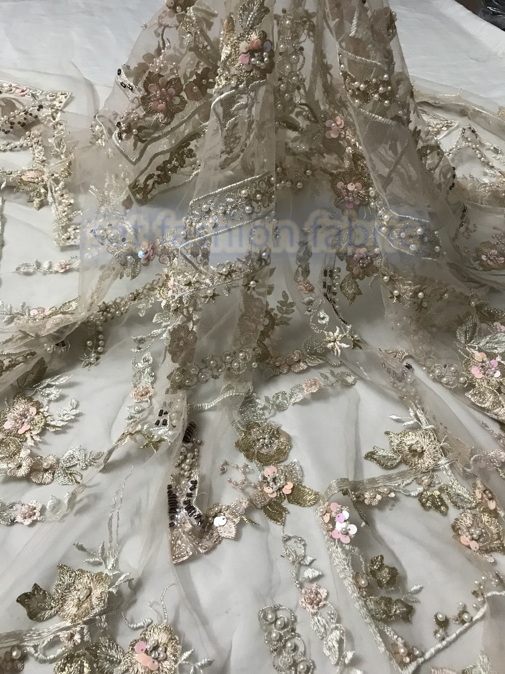 full beaded french tulle fabric luxury sat 5617 embroidered lace fabric best quality for women dresses
