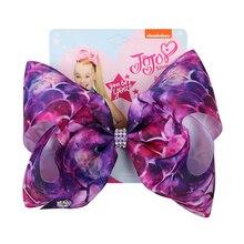 22 pcs/lot 8 pouces cheveux accessoire Jojo arcs pour filles Jojo Siwa grande sirène imprimer cheveux arcs pour fille avec Clips Bowknot à la main