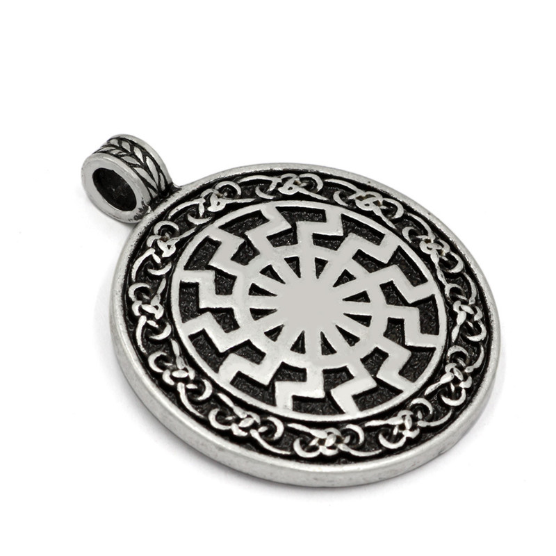 MCSAYS Norse Vikingm Mens Jewelry Amulet Warrior Celtic Knot Odin Sliver Color Pendant Rope Chain for Men Gifts 5GM