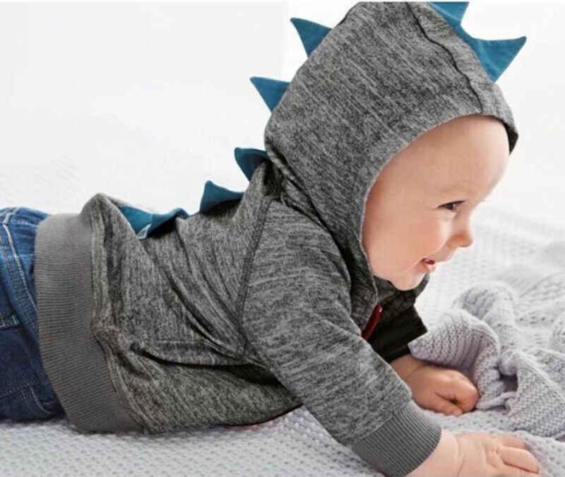 Baby Baby Kid Jongen Cartoon Dinosaurus Rits Hoodie Tops Jasje Uitloper 0-3Y Herfst Winter Bovenkleding