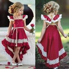 Летние кружевные вечерние платья для девочек, платье принцессы на 1-й день рождения, детская одежда, детская одежда