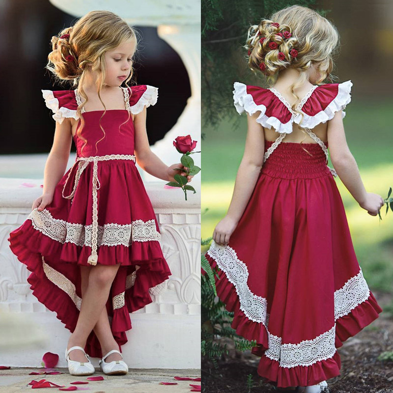 Summer Girls Lace Party <font><b>Dresses</b></font> Baby Girl 1st <font><b>Birthday</b></font> Wedding Princess <font><b>Dress</b></font> For 2 3 <font><b>4</b></font> 5 <font><b>years</b></font> Children's Clothing Kids Clothes image