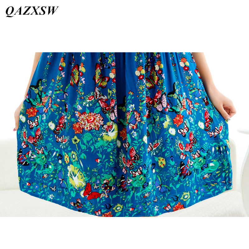QAZXSW 2018 New Women Summer Night Dress Plus Size Loose Butterfly Printing  Casual Nightwear Sleepwear Nightgown Vestidos YX0077-in Nightgowns    Sleepshirts ... 7b56b150a