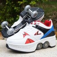 Новый 2018 Heelys кроссовки с четырьмя мальчиков и девочек ролик обувь повседневная обувь с роликом для девочек zapatillas Кроссовки размер EUR 32 43
