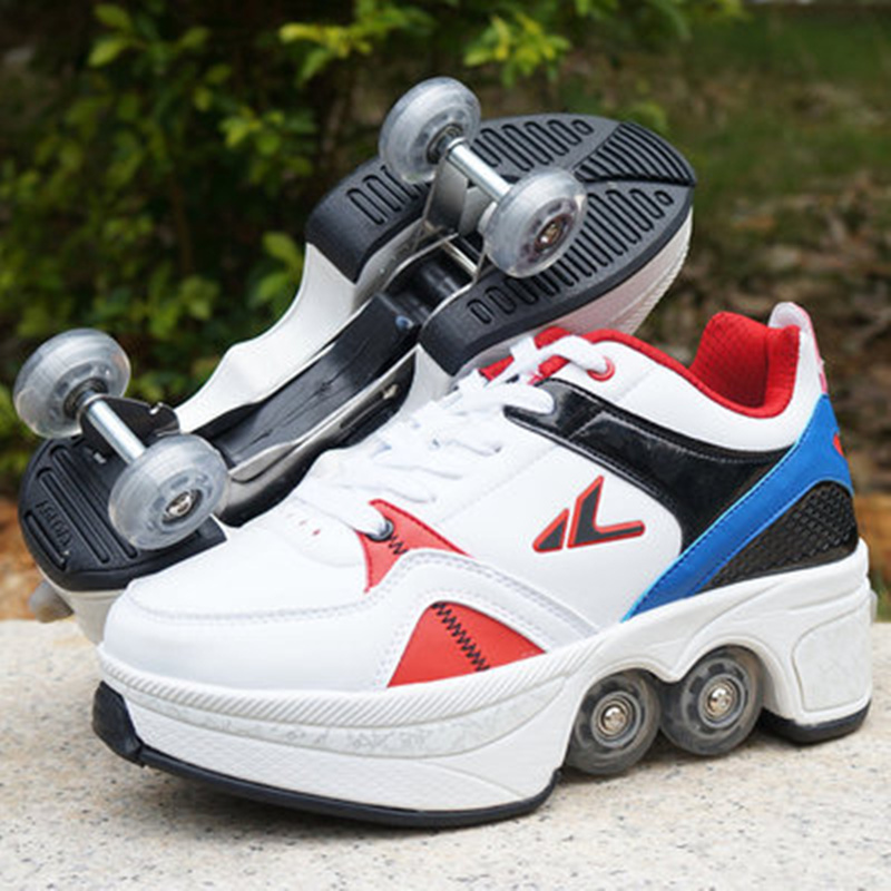 NEW 2018 Heelys Sneakers with Four Boys and Girls Roller Shoes Casual Shoes with Roller Girl zapatillas Sneakers EUR SIZE 32-43