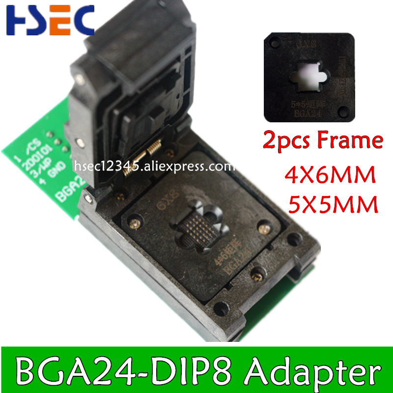 NEW ORIGINAL BGA24 to DIP8 BGA24 turn DIP8 programmer adapter 6*4MM+5*5MM Frame for W25Q54 TL866CS TL866A PEZP2010 2013 socket-in Integrated Circuits from Electronic Components & Supplies