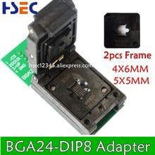 NEW ORIGINAL BGA24 to DIP8 BGA24 turn DIP8 programmer adapter 6*4MM+5*5MM Frame for W25Q54 TL866CS TL866A PEZP2010 2013 socket