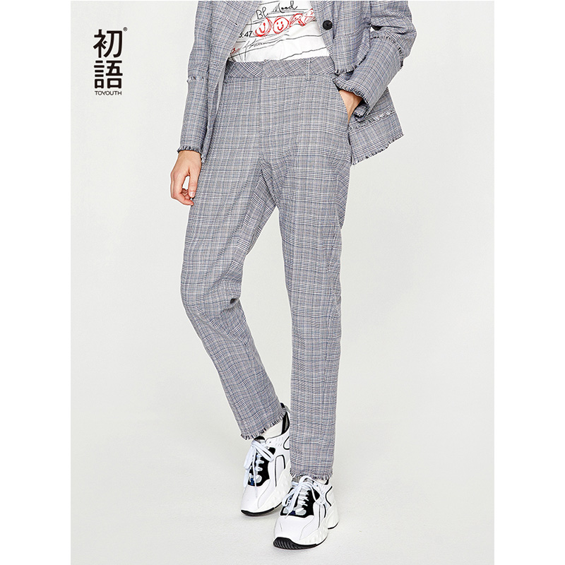 Toyouth New Autumn Plaid Women Pants Casual Formal Office Ladies Trousers Straight Korean Stylish Pantalones Mujer