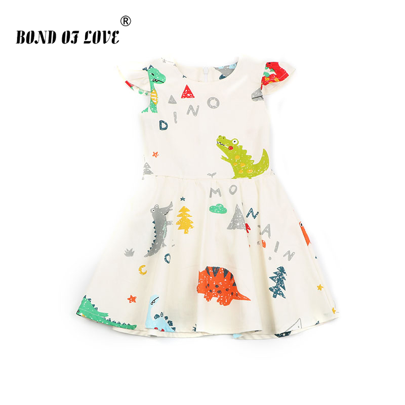 Summer Kids Clothing Tutu Dress Elegant Princess Girls Dress Dinosaur Printed Back Zipper Dress For Children Party Custumes 2-7Y image