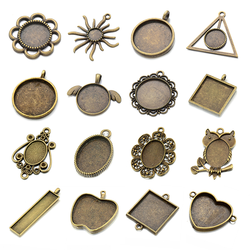 JUYA 10pcs/lot Multiple Zinc Alloy Pendant Blank Cameo Cabochon Base Setting for DIY Necklace Pendant Jewelry Making Supplies