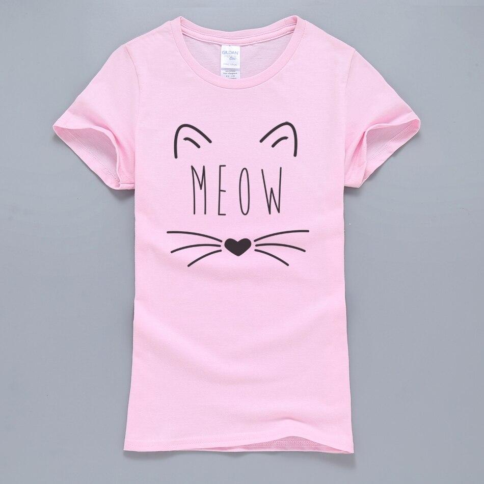 Kawaii Meow Cat Kitty Women   T     Shirt   2019 Summer Hot Sale 100% Cotton Short Sleeve   T  -  Shirt   Pink Kpop Harajuku Tops Tees For Lady