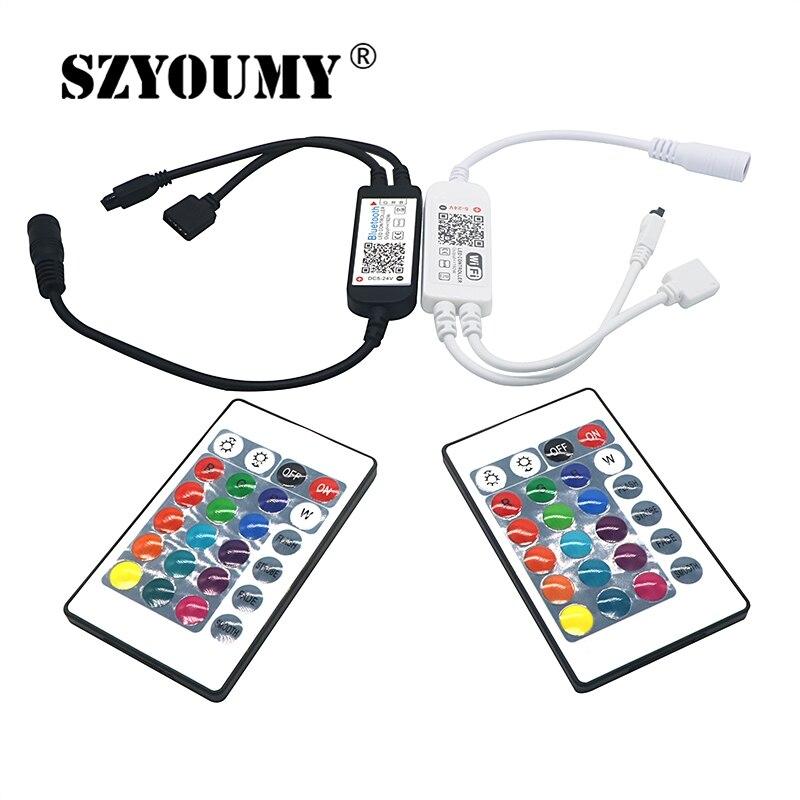 SZYOUMY Smart освещение Светодиодная полоска свет Управление Лер Wi Fi Bluetooth, ИК ИК RGB DC4.5V 25V 24keys дистанционного Управление Alexa Google дома