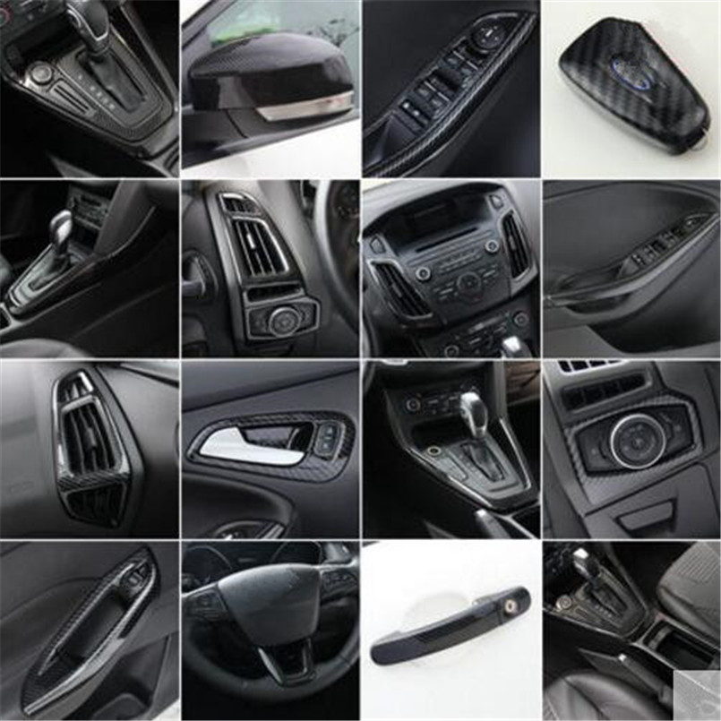 Car-Styling Gear panel cup holder door handle steering wheel air vent Decorative case For Ford Focus 3 mk3 2015-2018