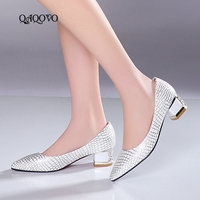 2019 New Women's Spring Pumps Shoes Square Low Heels Fashion Pointed Toe Casual Dress Party Shoes Ladies Gold Silver Blue