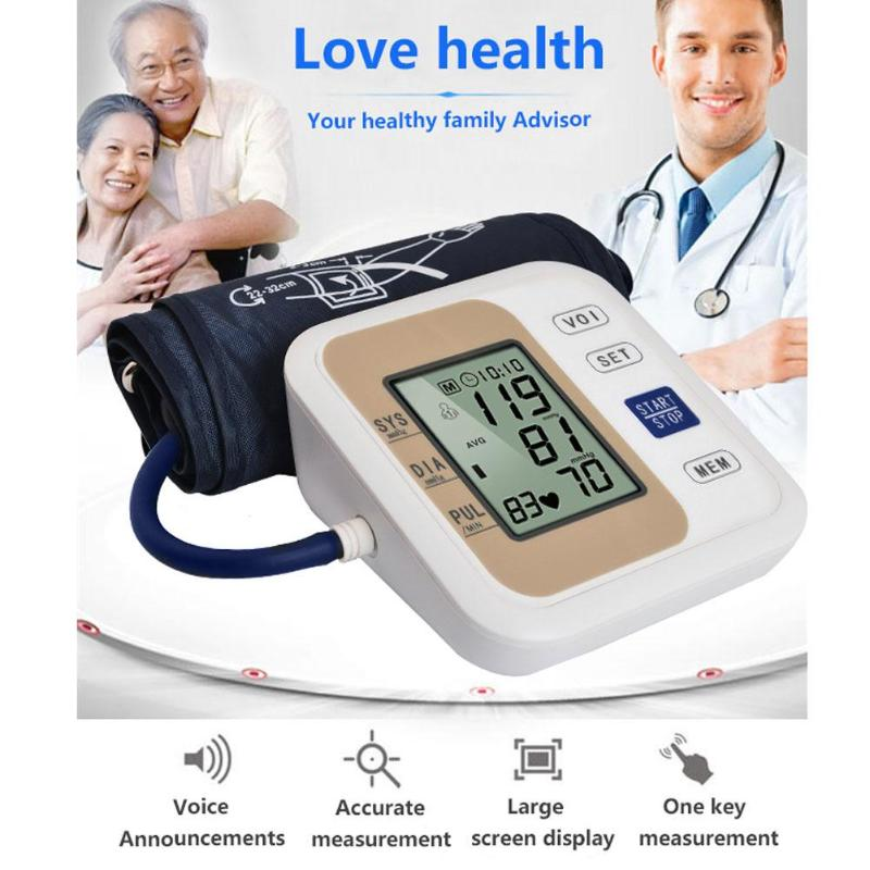 Automatic Upper Arm Blood Pressure with Voice LCD Display Heart Beat Meter Sphygmomanometer Household Arm Blood Press Monitor