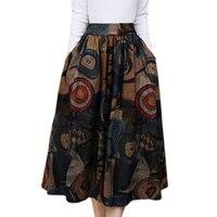 2017 Fashion Bohemia Print Plus Size Winter Midi Skirt Women High Waist Big Hem Pocket Pleated Skirts Female Vintage Skirt XXXL