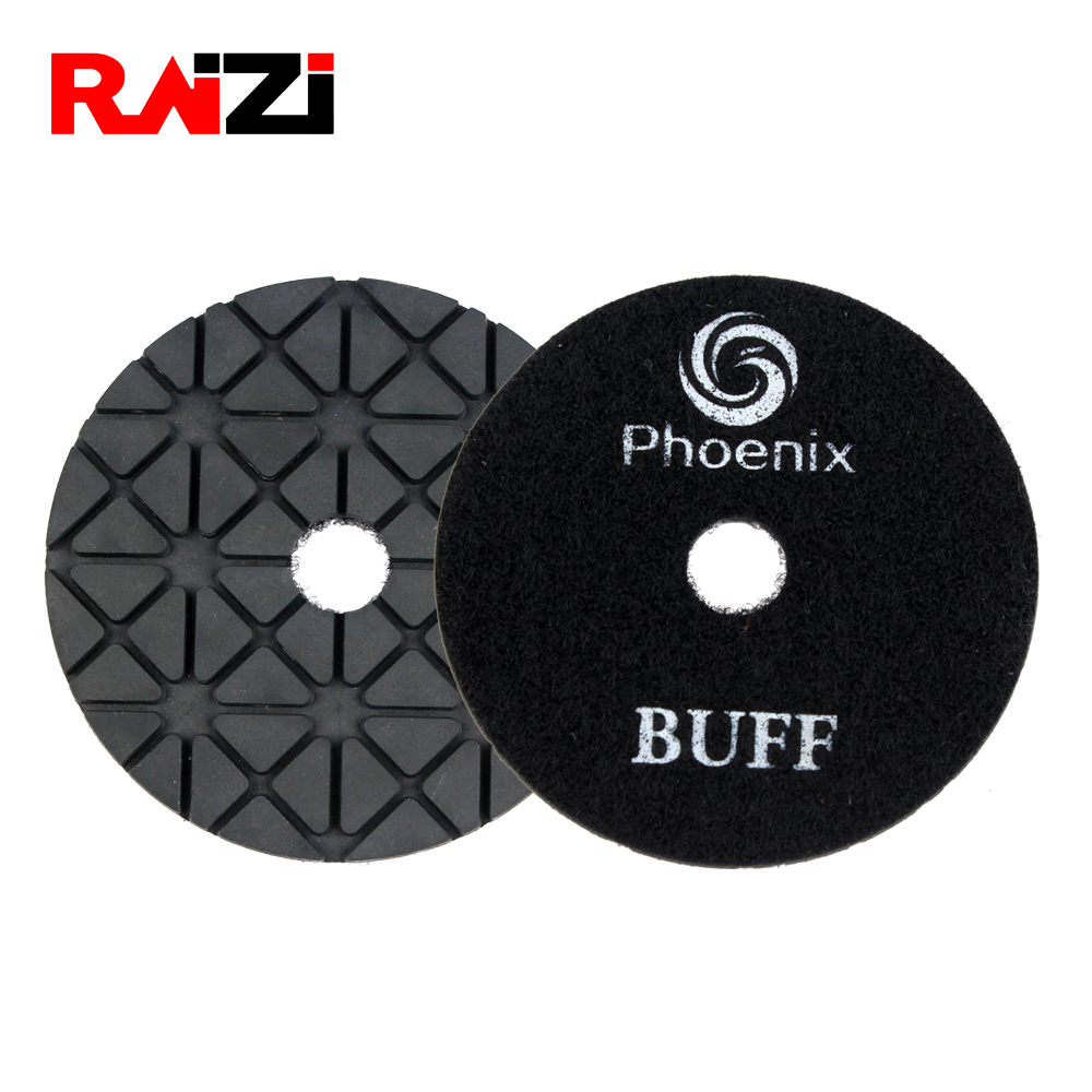 Raizi 95 Degree Brightness 4 Inch Wet Diamond Polishing Buff Pad/disc White/black On Granite And Marble