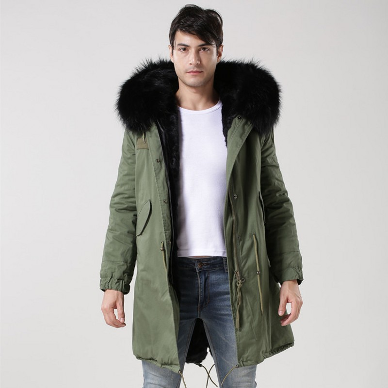 Winter Thick Fur Lining Jacket Men Real Fur Collar Hoodie Long Coat Casual Loose Fit Male Military Overcoats Plus Size Parkas