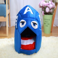 Nunubee Captain America Collapsible Creative Kennel Bed Teddy Pet Nest Cage Round House Dog House Cat Nest Mat Blue Deformable