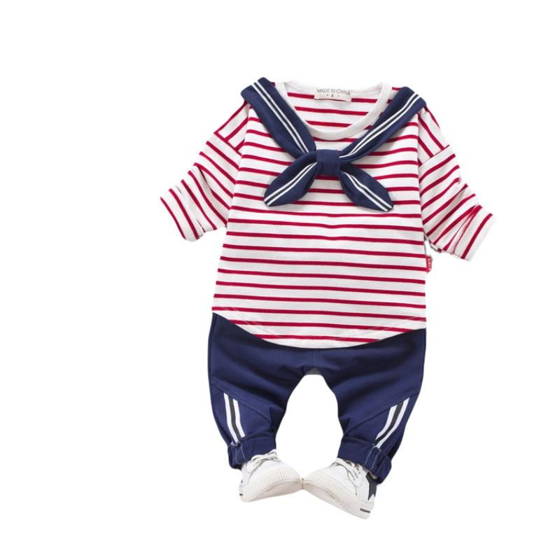 spring baby boy girl clothing 2018 fashion striped boy girls clothing baby boy girl clothes Tops+pant 0-4 years clothing set