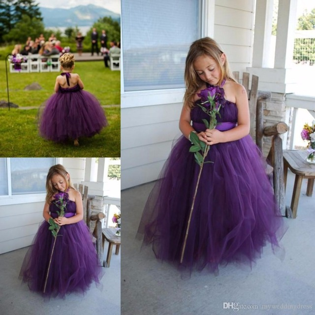 46e5dfd234a10 2017 Cheap Halter Purple Flower Girls Dresses Full Length tutu Girl Pageant  Gowns Size Teens Communion