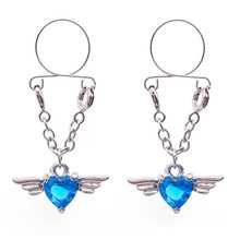 Hot Sale Blue Heart Non pierced Clip On Nipple Ring Nipple Crystal Wing Dangle Fake Nipple Adjustable Sexy Women Body Jewelry hot sale multi function medical themed electric shock nipple sucker nipple clamps body massager electro sex toys for man woman