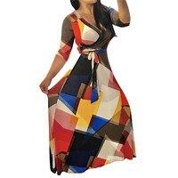 2017 Summer Women Sexy Geometric Print Bandage Dress Elastic Deep V Party Long Dress Free Shipping