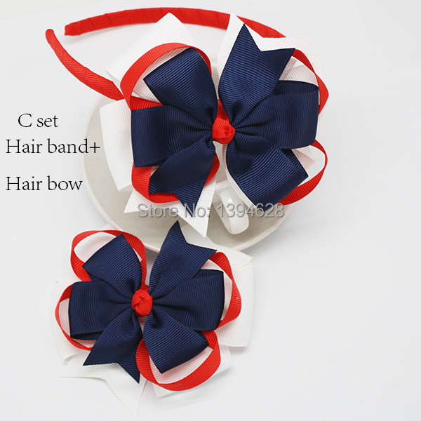 Loopy flower hair bow Fourth of July Red White and Blue hair clip