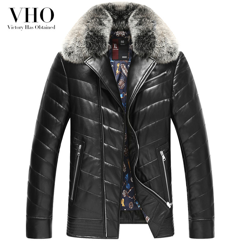 VHO fox fur big turn-down collar genuine leather jacket outerwear short slim men's fashion sheepskin leather down jacket coats