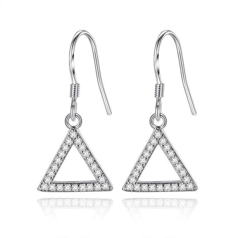 925 стерлингового серебра геометрический Дизайн блестящие циркон серьги для Для женщин ювелирные изделия подарок на день рождения Оптовая П...