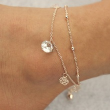 Sexy Gold Beach Anklets multilayer hollow roses Crystal Ankle Bracelet Foot Jewelry for Women Anklets on the Leg
