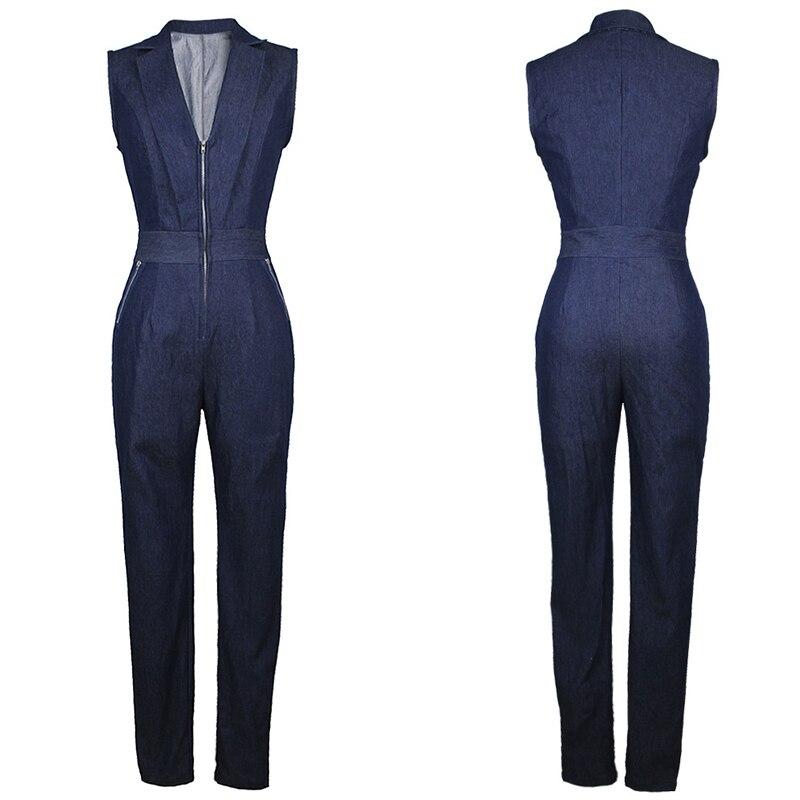 Long Blue Jumpsuit V Rompers Pants Zipper Womens Elegant Sexy Sleeveless 2018 Casual Jeans Office Denim Overall Summer Slim Neck qSfTv