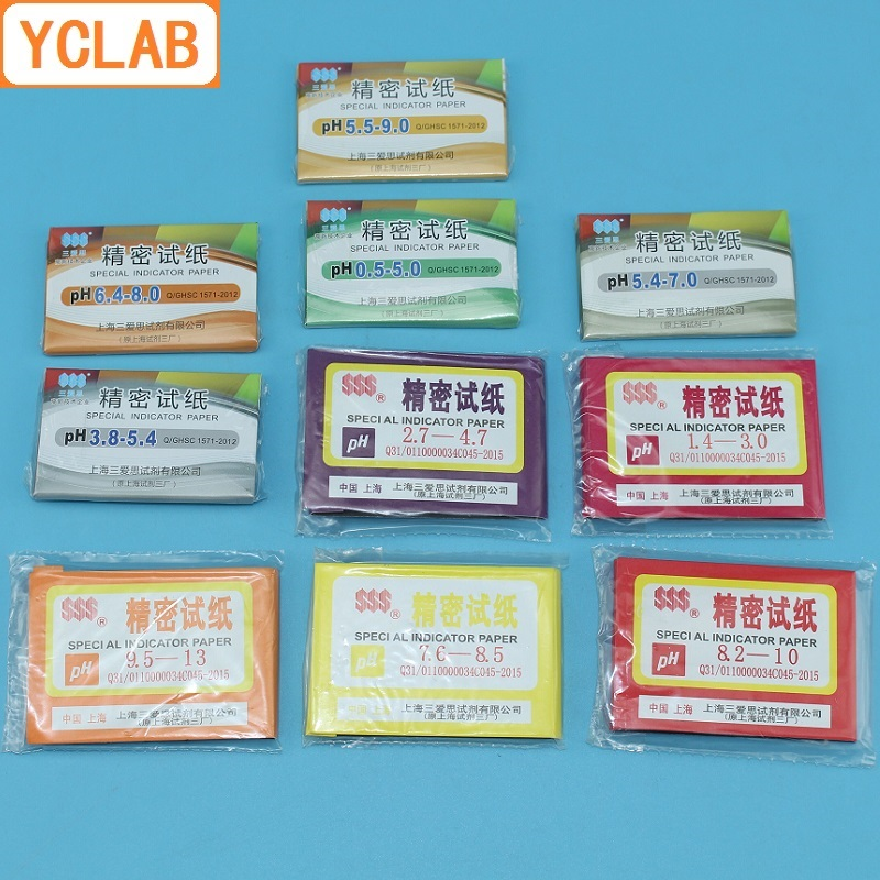 YCLAB 80PCS Special Indicator Paper PH 0.5-5.0 1.4-3.0 2.7-4.7 3.8-5.4 5.4-7.0 5.5-9.0 6.4-8.0 7.6-8.5 8.2-10 9.5-13 Test