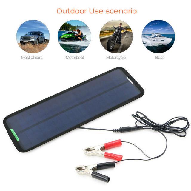 18V 7.5W Portable Solar Car Battery Charger Bundle with Cigarette Lighter Plug, Alligator Clip Adapter, Suction Cups.