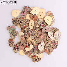 ZOTOONE Fashion Skull Buttons Wood Sewing Scrapbooking Random Color Two Holes Needlework DIY Clothing Accessories