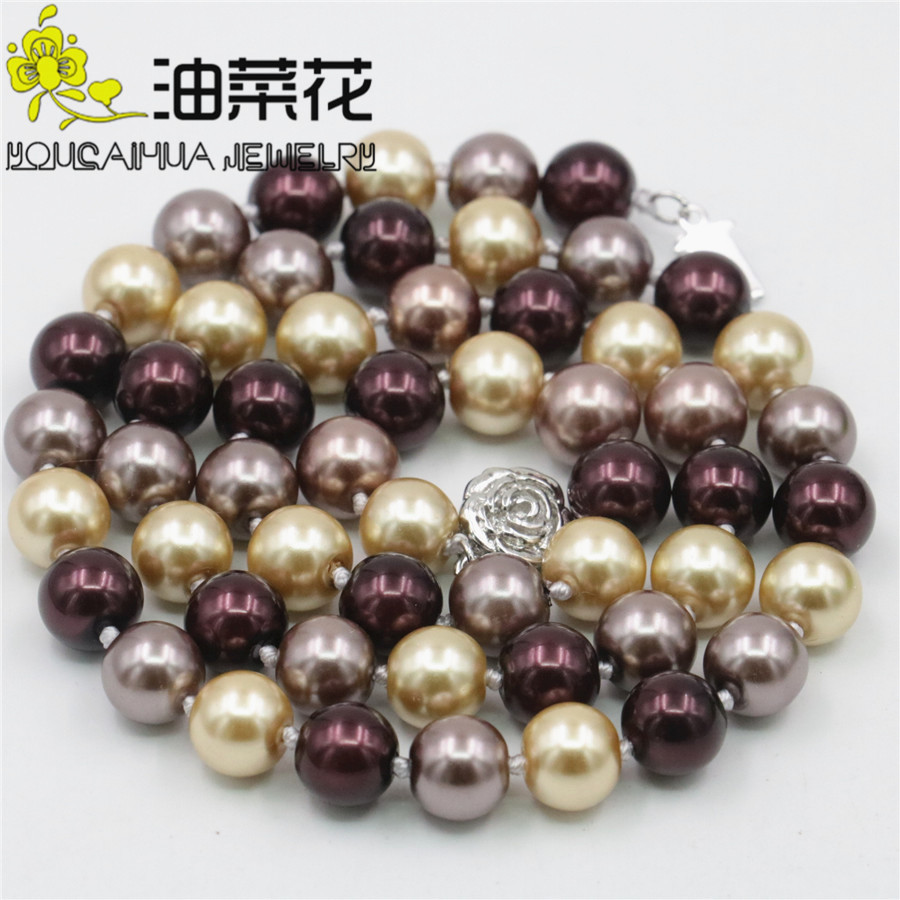 "NOUVEAU 10 mm Gold Sand Stone Gemstone Round Beads Necklace 18/"" AAA"