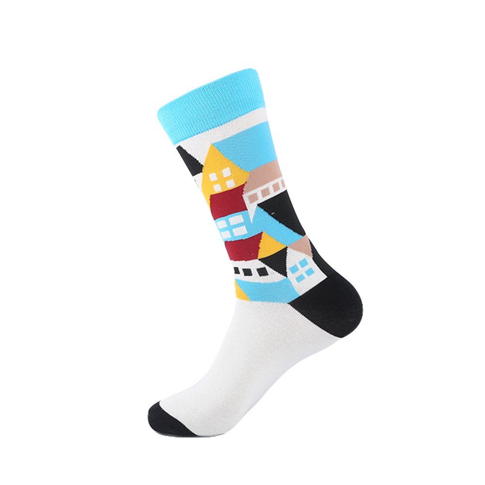 Yeadu 85% Combed Cotton Mens Long Socks Black Harajuku Animal Fox Dog Hip Hop Dress Sock For Male 5 Pair/lot Underwear & Sleepwears