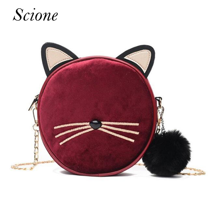 Winter New Fashion Mini Women Messenger Bag Cute Cat Ear Shape Shoulder Bags  For Girls Personalized Fur Ball Pendant Bolsa-in Top-Handle Bags from  Luggage ... 7bf9fd0ab90b8