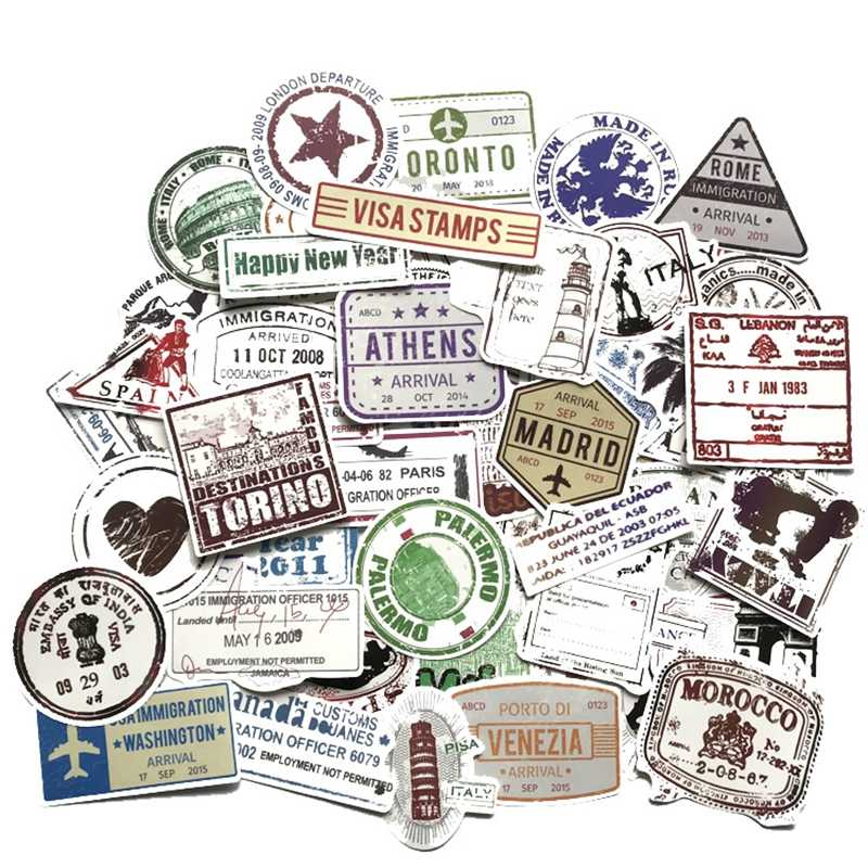 Retro Stickers Traveling Boarding Pass Tickets Stamp Stickers Laptop Skateboar Luggage Graffiti Waterproof Guitar Sticker 60pcs