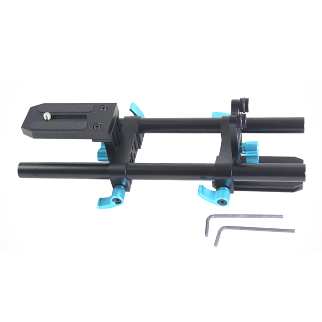 15mm Aluminum Alloy Rail Rod Support System DSLR Camera Track Rail Slider Baseplate & 1/4 Screw Quick Release Plate