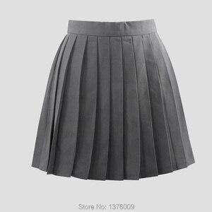 Image 5 - تنورات نسائية ذات ثنيات رمادية تنورة ذات ثنيات لفصل الصيف زي مدرسي ياباني تنورات نسائية متناسقة