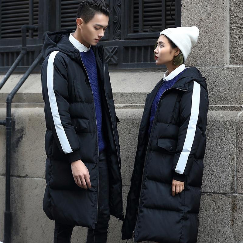 Winter Warm Jacket Men Fashion White stripe Men Women Clothing Zipper Coat Male Thick Warm Fur Collar Hooded Parka Plus Size 3XL